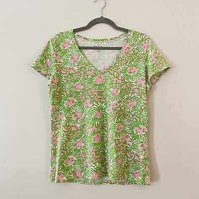 $25 • Buy Lilly Pulitzer Stretch T Shirt Green Pink Lion Roar Of The Jungle V Neck Large