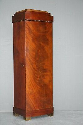 AU1299 • Buy Antique Original Scandinavian Art Deco Pier Cabinet Column Pedestal Mahogany Key