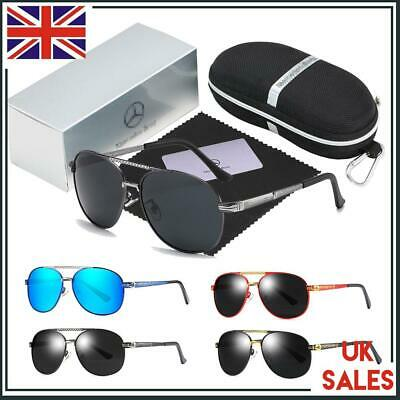 Men Sunglasses With Brand Box Mercedes Benz Logo Outdoor Fashion Designed UV400 • 14.34£