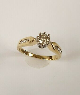 18ct Gold Diamond Solitaire Ring With Diamond Shoulders - Size K • 100£