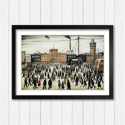 LS Lowry Going To Work People FRAMED WALL ART PRINT ARTWORK PAINTING 4 SIZES • 24.99£