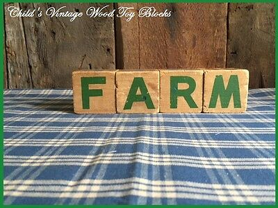 $ CDN16.92 • Buy Child's Antique Toy Wood Blocks Spell  FARM  Country Farmhouse Great Old Paint