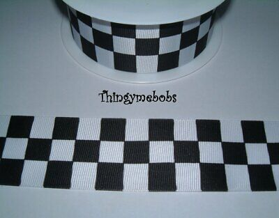 £1.99 • Buy 1m X 38mm BLACK/WHITE CHECKERED/CHEQUERED FLAG/RACING CAR/POLICE RIBBON - CAKES