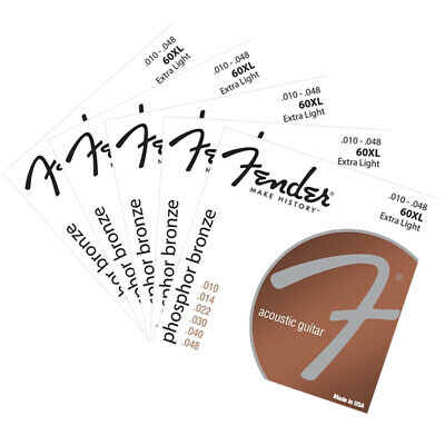 $ CDN25.94 • Buy 5 Packs Acoustic Guitar Strings Fender 60XL Set 10-48 Extra Light Bronze Strings