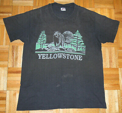 $ CDN93.37 • Buy Yellowstone T Shirt Vintage 90s National Park Distress Faded Thrashed Size XL