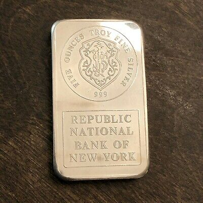 $ CDN335 • Buy Johnson Matthey Republic National Bank Of New York 5 Oz. 0.999 Silver Bar