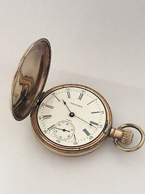 Antique Full Hunter Gold Plated Waltham Pocket Watch • 180£