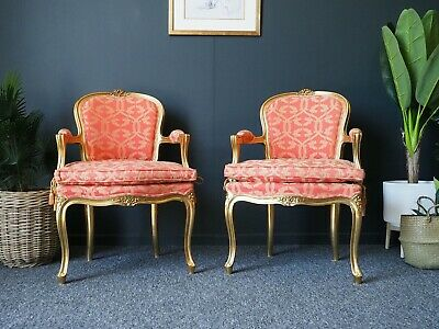 £1500 • Buy Antique Style Pair Louis XV Style Gilt Open Armchairs Supplied By Harrods