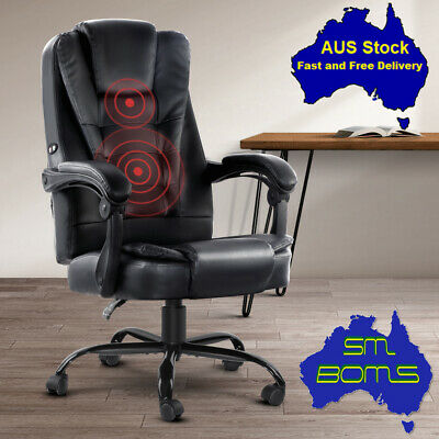 AU222.95 • Buy Massage Gamer Chair PU Leather Office Home Recliner Lumbar Comfy Exec Computer