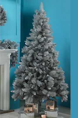 5ft 6ft 7ft Grey With Silver Tips Bushy Fir Chrismas Tree Or Garland Or Wreath • 22.99£