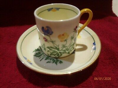 5 X Antique Crown Staffordshire Coffee Cup & Saucer. Hand Painted Floral Motifs • 30£
