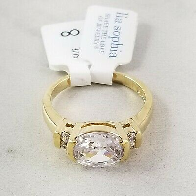$ CDN30.57 • Buy Lia Sophia Desire Gold Tone Cz Total Wt 4.3 Ct Ring Size 8