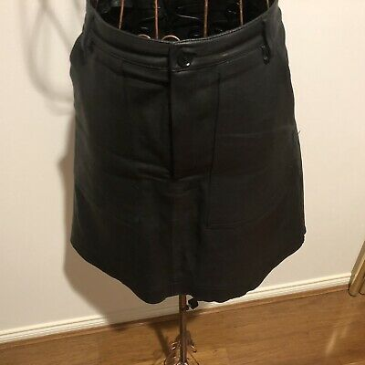 AU350 • Buy Scanlan And Theodore Black Leather Patch Pocket Skirt Size L