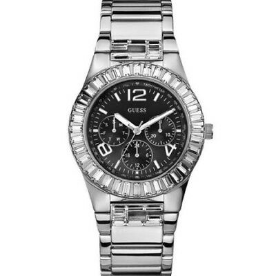 $ CDN158.59 • Buy New  Authentic GUESS Women Silver-tone Bracelet  , Black  Face Watch U17511L1