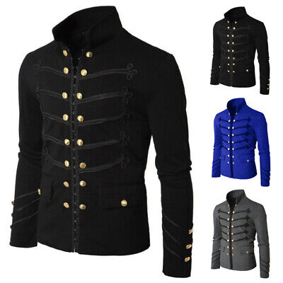 Men Gothic Steampunk Military Parade Jacket Cardigan Tunic Rock Army Outwear • 12.99£
