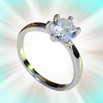 18Ct White Gold Over Round-Cut Diamond Ring Engagement Wedding Solitaire Bridal • 58.41£