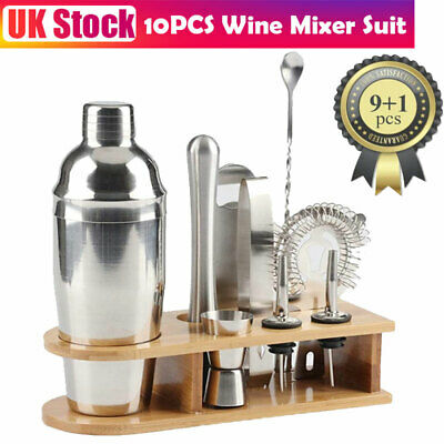 10pcs Stainless Steel Cocktail Shaker Ice Bar Tool 750ml Shaker Hand Tools Set • 19.99£
