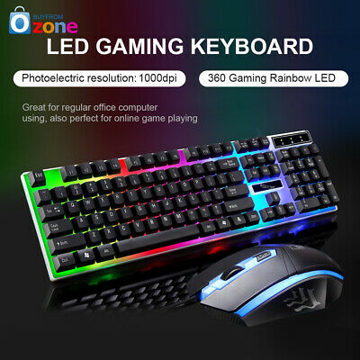 AU24.99 • Buy Rainbow Keyboard Mouse Set For PS4 PS3 Xbox One And Xbox 360 Gaming Backlight