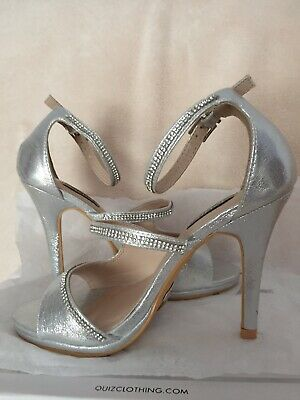 Quiz Brand New Silver Shimmer Diamond Strap High Heel Shoes, Size 3. • 19.99£