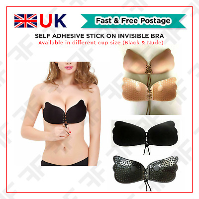 Women's Lace Push-Up Strapless Backless Self Adhesive Stick On Invisible Bra New • 3.98£