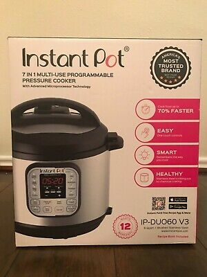 $74 • Buy NEW Instant Pot 6 Qt 7-in-1 Multi-Use Programmable Pressure Cooker IP-DUO60 V3