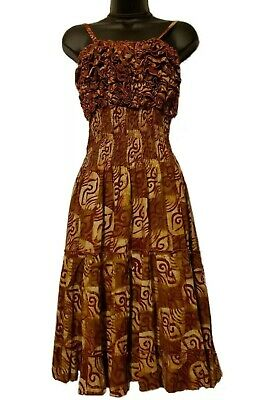 $37 • Buy African Women Burgundy And Biege Print Spaghetti Strap Dress With Ruffled Top