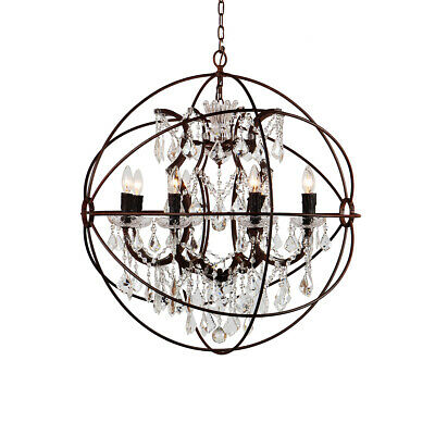 Metal Globe Wrought Iron Orb Crystal Glass Chandelier Candle 110V Base E12 • 159.26£