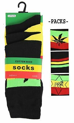 New Mens 3 Pack Cotton Rasta Coloured Socks Assorted Styles Lion Leaf Stripes • 4.50£