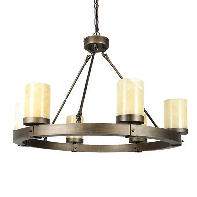 Wheel Wrought Iron Chandelier With 6 Stone Thick Candles 110V Base E12 • 200.02£