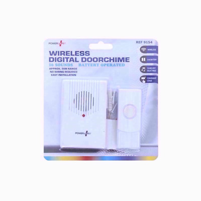 New Wire Free Wireless Door Chime Set Kit 16 Tunes Sounds Bell Battery Operated • 6.79£