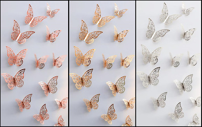AU5.85 • Buy Butterfly Wall Stickers, 3D Metallic Art Decals Home Room Decorations Decor Kids