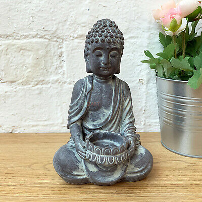 £10.99 • Buy Antique Cement Sitting Buddha Home Tea Light Votive Candle Holder Ornament Gift