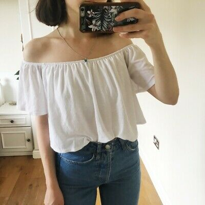 AU15 • Buy Bershka Off The Shoulder White Bardot Top - SIZE S (fits 6-8) Summer