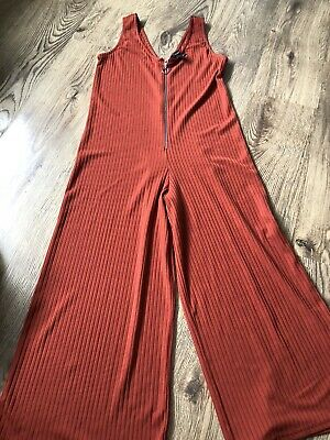 Orange Ribbed Playsuit Jumpsuit With Zip Silver Ring Pull Size 8 Wide Leg  • 4£