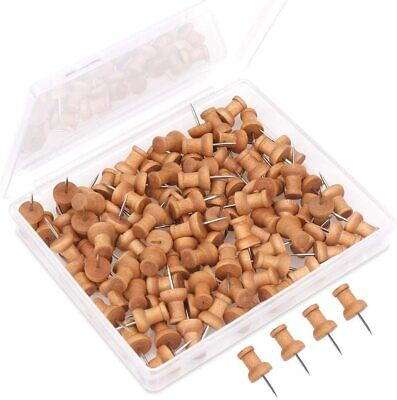 Wooden Push Pin Drawing Pins Notice Board Office Cork Board Paper Fixing • 3.49£