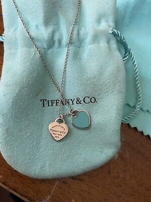 $72 • Buy NWT Tiffany & Co Sterling Silver Mini Double Heart Tag Pendant Necklace