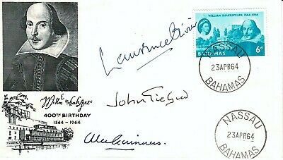 Alec Guiness Laurence Olivier & John Gielgud Signed FDC William Shakespeare  • 99.99£