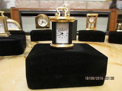 MINIATURE BRASS  CARRIAGE CLOCK QUARTZ Black • 17.49£