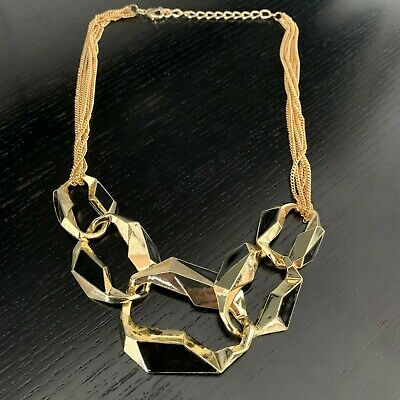 NEW Ladies Chunky Gold & Black Fashion Jewellery Necklace Jewellery Gift • 2.99£