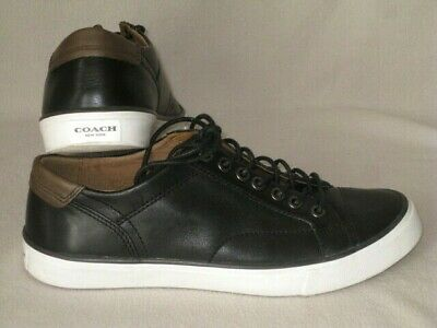 $65 • Buy COACH PERKIN'S LOW TOP LTR BLACK LEATHER CASUAL SHOES SNEAKERS FG1056 Size 8 D