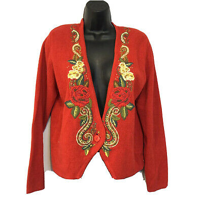$21.74 • Buy Herman Geist S Red Christmas Cardigan Sweater Holiday Cotton Hand Embroidered