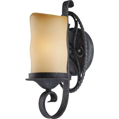 Sevilla 1-Light Antique Wrought Iron Sconce Candle-Shaped Sandstone Glass Shade • 116.89£