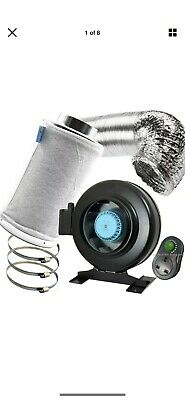 """8"""" Air Odour Control Kit Metal Inline Extractor Fan Carbon Filter Ducting • 50£"""
