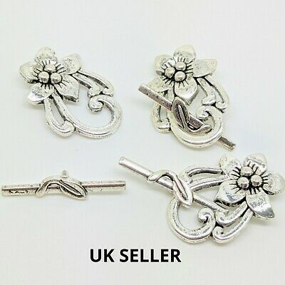Quality Large Antiqu Silver Toggle Clasps Jewellery Making Finding DIY Material  • 1.79£