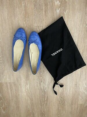 £353.99 • Buy Chanel Blue Patent Calfskin Leather Flats 38.5