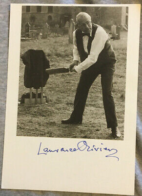 LAURENCE OLIVIER Hand Signed Autographed 5 X 7 Card With Photo W/COA • 71.08£