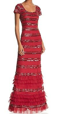 $47.97 • Buy Aidan Mattox Womens Gown Wine Red Size 2 Cap Sleeve Embellished $495- 242