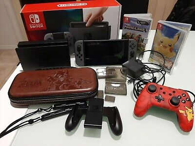 AU400 • Buy Lightly Used 2019 32GB Grey Nintendo Switch Console With Hardcover Case+2 Games