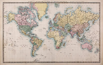 AU53.99 • Buy Map  World  Photo Framed Poster Canvas Art Painting  Print Vintage