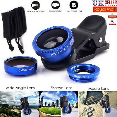 £2.98 • Buy 3 In 1 Fisheye Macro Wide Angle Clip On Lens Kit For SAMSUNG IPhone HTC Huawei